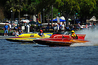 "Dave Richardson, GP-200 ""Lauterbach Special"", (1976 Grand Prix class Lauterbach hydroplane) and Dick Whyte, GP-115 ""Scorpio"" (2007 Lauterbach Grand Prix hydroplane)"