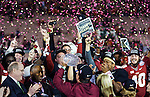 Florida State head coach Jimbo Fisher and his team celebrate winning the BCS national title game at the Rose Bowl in Pasadena, California on January 6, 2014.  Florida State Seminoles defeated the Auburn Tigers 34-31.