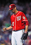 23 April 2010: Washington Nationals' starting pitcher Luis Atilano pumps his first after making his Major League debut, pitching six innings and allowing one run on five hits in a 5-1 win over the Los Angeles Dodgers at Nationals Park in Washington, DC. Mandatory Credit: Ed Wolfstein Photo