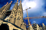 Barcelona Cathedral with scaffholding. Barcelona, Spain
