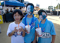 Fans with their faces painted pose together for group photo with Jamba Juice drinks before the game at Buck Shaw Stadium in Santa Clara, California on August 11th, 2012.   Earthquakes defeated Sounders, 2-1.