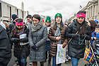 January 27, 2017; Notre Dame students pray the rosary at the National March for Life in Washington, D.C.  (Photo by Barbara Johnston/University of Notre Dame)