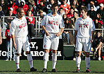 Maryland starters A.J. Godbolt (5), Chris Lancos (6), and Stephen King (7). The University of Maryland Terrapins defeated the University of New Mexico Lobos 1-0 in the Men's College Cup Championship game at SAS Stadium in Cary, NC, Friday, December 11, 2005.