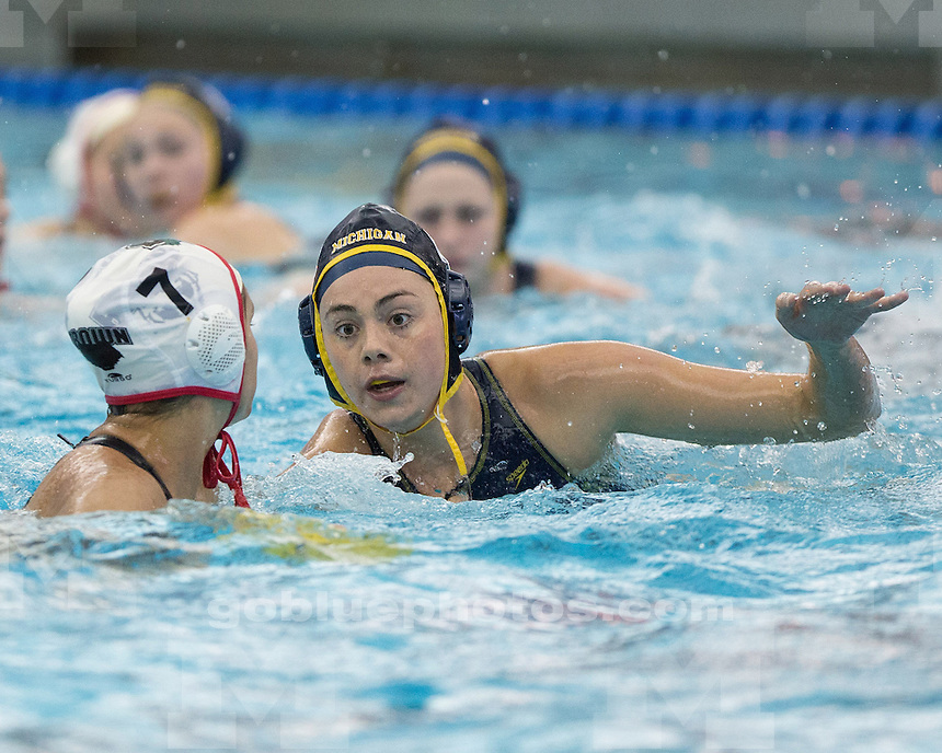 (per CWPA regulations, these images are not available for purchase)<br /> <br /> The University of Michigan women's water polo team beat Brown, 11-7, in the second round (first round bye) of the CWPA Eastern Championship at Canham Natatorium in Ann Arbor, Mich., on April 26, 2013.