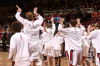 30 December 2006: Stanford Cardinal Cissy Pierce, Kristen Newlin, Clare Bodensteiner, Morgan Clyburn during Stanford's 77-71 win against the Arizona State Sun Devils at Maples Pavilion in Stanford, CA.