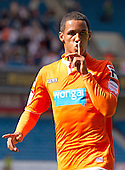 Thomas Ince of Blackpool FC celebrates his first half strike - Millwall vs Blackpool - NPower Championship Football at the New Den, London - 18/08/12 - MANDATORY CREDIT: Ray Lawrence/TGSPHOTO - Self billing applies where appropriate - 0845 094 6026 - contact@tgsphoto.co.uk - NO UNPAID USE.