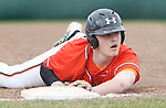 WOLCOTT CT. 17 April 2017-041517SV10-#20 Hayden Beauty of Watertown looks for the call after being tagged out at first in the 2nd inning against Wolcott High during NVL baseball action in Wolcott Monday. <br /> Steven Valenti Republican-American