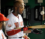 15 August 2008: Washington Nationals' left fielder Willie Harris awaits his turn at bat in the dugout during a game against the Colorado Rockies at Nationals Park in Washington, DC.  The Rockies edged out the Nationals 4-3, handing the last place Nationals their 8th consecutive loss. ..Mandatory Photo Credit: Ed Wolfstein Photo