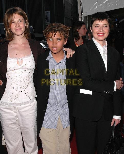 """ISABELLA ROSSELLINI & ELETTRA-INGRID & ROBERTO.Premiere of """"Star Wars III Revenge of the Sith"""" at the Ziegfeld Theater in Manhattan. New York, New York.May 12th, 2005.Photo Credit: Patti Ouderkirk/AdMedia.half length family children parent mother black suit bag purse.www.capitalpictures.com.sales@capitalpictures.com.© Capital Pictures."""