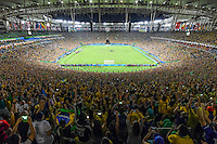 Brazil gets football gold in the Rio's Maracana, the moment Neymar scores Brazil's 5th penalty after Germany missed. Rio2016 Olympics. <br /> Rio de Janeiro, Brazil on 20 August 2016<br /> CAP/CAM<br /> &copy;Andre Camara/Capital Pictures