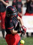 Cheshire, CT- 19 May 2017-051917CM06-  Cheshire's Bri Floyd makes contact with the ball during their SCC softball matchup against Mercy on Friday.  Cheshire would go onto win, 8-1.  Christopher Massa Republican-American