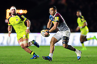 Joe Marchant of Harlequins looks to pass the ball. Aviva Premiership match, between Harlequins and Leicester Tigers on February 24, 2017 at the Twickenham Stoop in London, England. Photo by: Patrick Khachfe / JMP