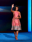 First lady Michelle Obama waves to the crowd following her remarks at the 2012 Democratic National Convention in Charlotte, North Carolina on Tuesday, September 4, 2012.  .Credit: Ron Sachs / CNP.(RESTRICTION: NO New York or New Jersey Newspapers or newspapers within a 75 mile radius of New York City)
