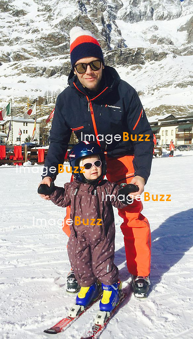 Princess Estelle of Sweden makes her debut on skis on New Year's Eve. She was ably assisted by her father Prince Daniel in Cervinia, Italy.<br /> December 30, 2013.