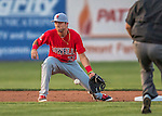 24 August 2016: Lowell Spinners infielder C.J. Chatham in action against the Vermont Lake Monsters at Centennial Field in Burlington, Vermont. The Lake Monsters defeated the Spinners 5-3 in NY Penn League action. Mandatory Credit: Ed Wolfstein Photo *** RAW (NEF) Image File Available ***