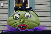 Green witch pumpkin at the Damariscotta pumpkin festival, Maine, USA