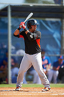 Miami Marlins first baseman Eric Gutierrez (20) during an Instructional League game against the New York Mets on September 29, 2016 at the Port St. Lucie Training Complex in Port St. Lucie, Florida.  (Mike Janes/Four Seam Images)