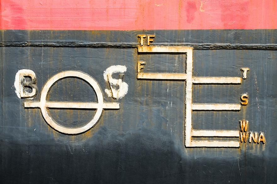 Nederland, Rotterdam, 9 juni 2013<br /> Detail van codering op een schip<br /> <br /> Foto(c): Michiel Wijnbergh