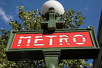 Metro Station Sign in Paris, France, Europe