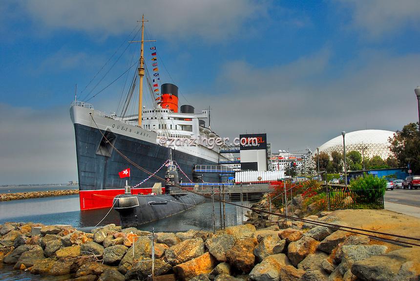 RMS Queen Mary, Cruise ship, Hotel, Russian attack Submarine,  Long Beach, CA
