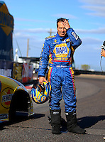 Feb 26, 2017; Chandler, AZ, USA; NHRA funny car driver Ron Capps reacts after losing in the final round of the Arizona Nationals at Wild Horse Pass Motorsports Park. Mandatory Credit: Mark J. Rebilas-USA TODAY Sports