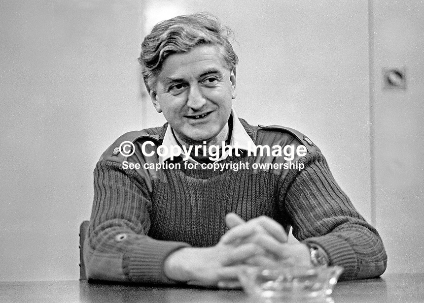 Major George Styles, Royal Army Ordnance Corps, who has been awarded George Cross for bravery in defusing two bombs planted in the Europa Hotel, Belfast, N Ireland, UK, in October 1971. 1972010014<br /> <br /> Copyright Image from Victor Patterson, 54 Dorchester Park, Belfast, UK, BT9 6RJ<br /> <br /> t: +44 28 90661296<br /> m: +44 7802 353836<br /> vm: +44 20 88167153<br /> e1: victorpatterson@me.com<br /> e2: victorpatterson@gmail.com<br /> <br /> For my Terms and Conditions of Use go to www.victorpatterson.com