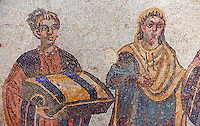 The so called Domina of the Villa, probably Eutropia the wife of Emperor Maximinianus, accompanied by her children from the Trapedoizal Vestibule room no 16. Roman mosaics at the Villa Romana del Casale which containis the richest, largest and most complex collection of Roman mosaics in the world. Constructed  in the first quarter of the 4th century AD. Sicily, Italy. A UNESCO World Heritage Site.