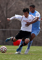 COLLEGE PARK, MD - April 05 2014: University of Maryland vs University of North Carolina in a spring season college friendly at Ludwig Field, in College Park, Maryland.