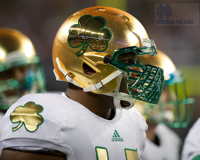 Oct. 5, 2013; Linebacker Romeo Okwara (45) wears the Shamrock Series uniform.<br /> <br /> Photo by Matt Cashore