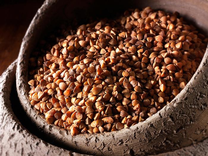 Roasted buckwheat seeds - stock photos