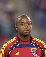 Real Salt Lake midfielder Collen Warner (26). In a Major League Soccer (MLS) match, Real Salt Lake defeated the New England Revolution, 2-0, at Gillette Stadium on April 9, 2011.