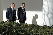 White House Press Secretary Sean Spicer (L) and White House Chief of Staff Reince Priebus walk down the West Wing Colonnade following a bilateral meeting between U.S. President Donald Trump and Japanese Prime Minister Shinzo Abe February 10, 2017 in Washington, DC. Trump and Abe are expected to discuss many issues, including trade and security ties and will hold a joint press conference later in the day.  <br /> Credit: Chip Somodevilla / Pool via CNP