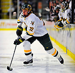 23 January 2009: University of Vermont Catamount defenseman Josh Burrows, a Sophomore from Prairie Grove, IL, in action against the University of Massachusetts Minutemen during the first game of a weekend series at Gutterson Fieldhouse in Burlington, Vermont. The Catamounts defeated the visiting Minutemen 2-1. Mandatory Photo Credit: Ed Wolfstein Photo
