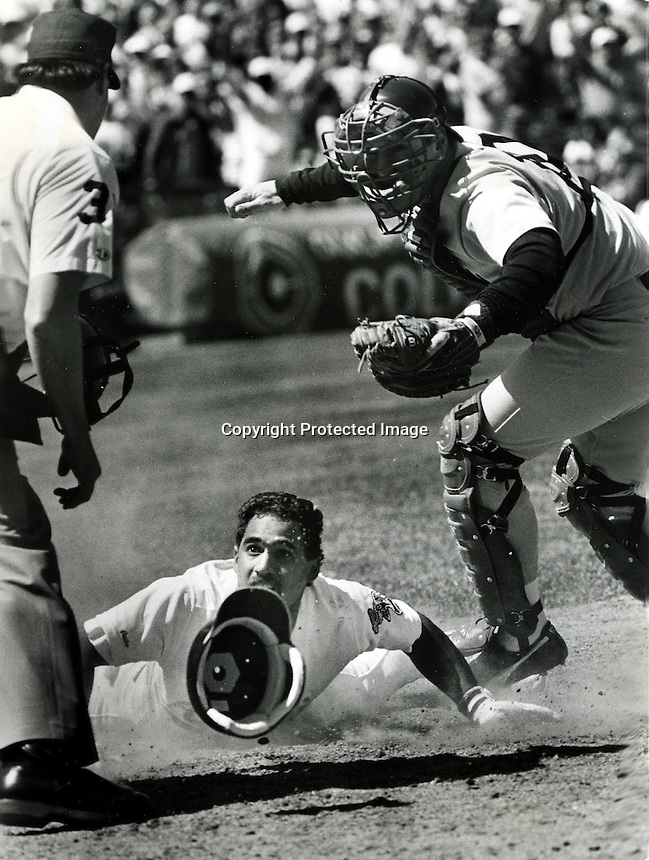 Oakland Athletics Stan Javier at home plate.<br />(1989 photo/Ron Riesterer/Photoshelter)