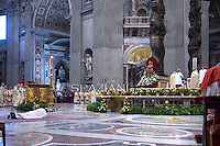 Pope Francis during Episcopal Ordination to Under-Secretary of the Synod of Bishops Fabio Fabene. ceremony in St. Peter's Basilica at the Vatican, on May 30, 2014