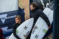 BELLS BEACH, Victoria/AUS (Sunday, March 27, 2016) Conner Coffin (USA) with coach Brad Gerlach (USA) - Action at the Rip Curl Pro Bells Beach, the second stop on the World Surf League (WSL) Championship Tour (CT), continued today with Round Two and six heats of Round Three of the Men's heats.<br /> There were light onshore South West winds throughout the day with the swell in the 6'-8' range.<br /> <br /> Bells Beach has been hosting surfing tournaments for more than 50 years now, making it the most renowned spot on the raw and rugged southern coast of Victoria, Australia. The list of  Rip Curl Pro event champions is a veritable who's who of surfing icons, including many world champions.<br /> <br /> Surfing's greats have a way of dominating Bells. Mark Richards, Kelly Slater, and Mick Fanning all have four Bells trophies; Michael Peterson and Sunny Garcia, three; While Simon Anderson, Tom Curren, Joel Parkinson, Andy Irons, and Damien Hardman each grabbed a pair.<br /> <br /> The story is similar on the women's side. Lisa Andersen and Stephanie Gilmore have four Bells titles; Layne Beachley and Pauline Menczer, three; while Kim Mearig and Sally Fitzgibbons each have two.<br /> <br /> The 2016 event is about to kick off tomorrow and there was a packed warm up session at Bells this morning. <br /> Photo: joliphotos.com with coach Brad Gerlach (USA)(USA) - Action at the Rip Curl Pro Bells Beach, the second stop on the World Surf League (WSL) Championship Tour (CT), continued today with Round Two and six heats of Round Three of the Men's heats.<br /> There were light onshore South West winds throughout the day with the swell in the 6'-8' range.<br /> <br /> Bells Beach has been hosting surfing tournaments for more than 50 years now, making it the most renowned spot on the raw and rugged southern coast of Victoria, Australia. The list of  Rip Curl Pro event champions is a veritable who's who of surfing icons, including many world champions.<br /> <br /> Surfing's greats