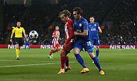 Atletico Madrid's Antoine Griezmann and Leicester City's Christian Fuchs<br /> <br /> Photographer Stephen White/CameraSport<br /> <br /> The EFL Sky Bet Championship - Blackburn Rovers v Bristol City - Monday 17th April 2017 - Ewood Park - Blackburn<br /> <br /> World Copyright &copy; 2017 CameraSport. All rights reserved. 43 Linden Ave. Countesthorpe. Leicester. England. LE8 5PG - Tel: +44 (0) 116 277 4147 - admin@camerasport.com - www.camerasport.com