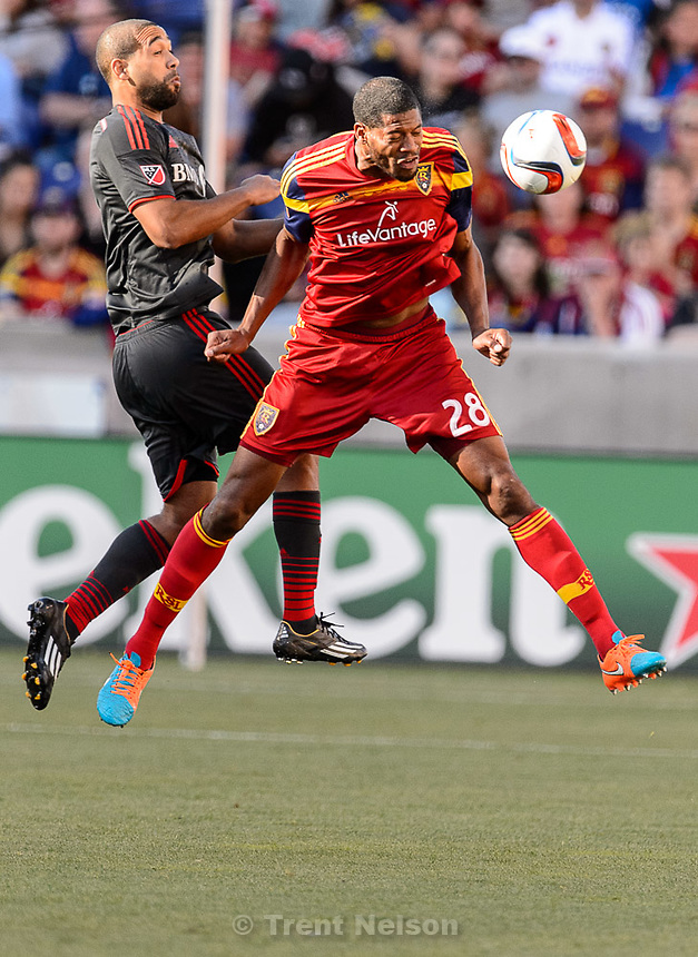 Trent Nelson  |  The Salt Lake Tribune<br /> Real Salt Lake defender Chris Schuler (28) heads the ball as Real Salt Lake hosts Toronto FC at Rio Tinto Stadium in Sandy, Sunday March 29, 2015.