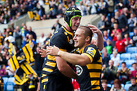 Jimmy Gopperth of Wasps celebrates his first half try with team-mate James Gaskell. Aviva Premiership match, between Wasps and Exeter Chiefs on September 4, 2016 at the Ricoh Arena in Coventry, England. Photo by: Patrick Khachfe / JMP