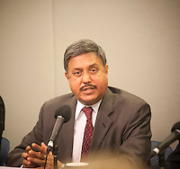 Dr. Ram Raju, CEO and Pres. of the NY Health and Hospitals Corp.  speaks at a news conference in the Office of Emergency Management to update concerned New Yorkers on the Ebola patient at Bellevue Hospital,  on Friday, October 24, 2014. The mayor and health officials briefed the press on the activities of Dr. Craig Spencer, New York's first Ebola patient who is currently being treated at Bellevue Hospital. (© Richard B. Levine)