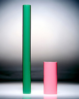 PRESSURE EXERTED BY A SOLID: TWO CYLINDERS<br /> The Narrower Cylinder Exerts Greater Pressure<br /> The pressure exerted by these cylinders of equal mass on the surface supporting them are equal to a force (weight of cylinder) divided by the area of contact between the cylinder and the surface.