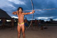 Xingu Indian hunter in the Amazon Basin, Brazil.