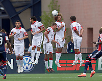 DC United wall: Hamdi Salihi, Dwayne De Rosario, Perry Kitchen, Nick DeLeon, Danny Cruz. In a Major League Soccer (MLS) match, DC United defeated the New England Revolution, 2-1, at Gillette Stadium on April 14, 2012.