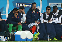 Netherlands goalkeeper Tim Krul, the hero in the last penalty shootout, shows a look of dejection on the bench after the last substitution is made meaning he won't repeat his heroics