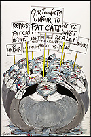 BNPS.co.uk (01202 558833)<br /> Pic: Sothebys/BNPS<br /> <br /> 'Cartoonist unfair to fat cats'.<br /> <br /> A collection of more than 130 drawings by one of Britain's most celebrated cartoonists has emerged for auction and are tipped to sell for &pound;850,000.<br /> <br /> The collection of Gerald Scarfe - who has worked as a cartoonist for the Sunday Times for 44 years - includes satirical portraits of leading political figures from Winston Churchill to Theresa May, as well as examples of his work on Disney film Hercules and Pink Floyd's animation film The Wall.<br /> <br /> While many of the drawings included in the auction have been published, a number of works included in the sale are unseen.<br /> <br /> Those who have been immortalised in his cartoons include Donald Trump, Barack Obama, George Bush, David Cameron, Tony Blair, Margaret Thatcher, Boris Johnson, Nigel Farage, George Osborne and Jeremy Corbyn.