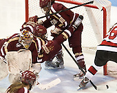 Corinne Boyles (BC - 29), Kaliya Johnson (BC - 6), Blake Bolden (BC - 10) - The Northeastern University Huskies defeated Boston College Eagles 4-3 to repeat as Beanpot champions on Tuesday, February 12, 2013, at Matthews Arena in Boston, Massachusetts.