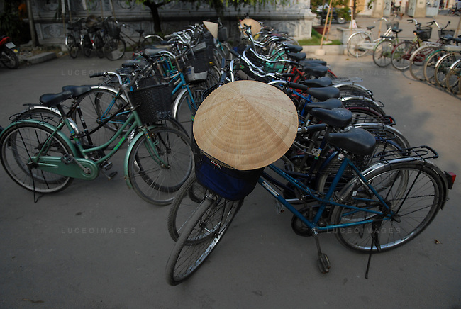 Bicycles line up at a parking lot in Ho Chi Minh City, Vietnam.