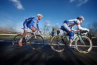 Jan Ghyselinck (BEL) in the attack with Antonio Parrinello (ITA)<br /> <br /> Kuurne-Brussel-Kuurne 2014