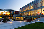 Evening shot of Seattle University's Lemieux Library and McGoldrick Learning Commons