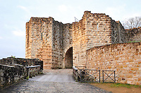 The Porte Saint Jean, or St John's Gate, built 1286-1306, and its wooden footbridge over the moat, at the medieval castle of Chateau-Thierry, Picardy, France. The first fortifications on this spur over the river Marne date from the 4th century and the first castle was built in the 9th century Merovingian period by the counts of Vermandois. Thibaud II enlarged the castle in the 12th century and built the Tour Thibaud, and Thibaud IV expanded it significantly in the 13th century to include 17 defensive towers in the walls and an East and South gate. The castle was largely destroyed in the French Revolution after having been a royal palace since 1285. In 1814 it was used as a citadel for Napoleonic troops. Picture by Manuel Cohen